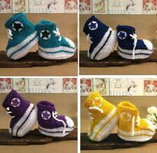 Knit Baby Booties Hi Tops Yellow White Toddler Shoes Baby Shower Gift Photo