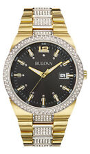 New Bulova 98B235 Gold Tone Black Dial Crystal Accent Men's 50m Watch