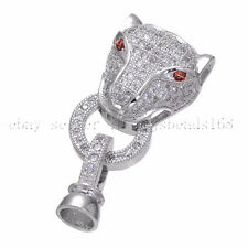 Cubic Zirconia Pave Leopard Head Fold Over Clasps Bracelet Connector Charm Beads