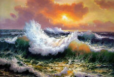 """Art Oil painting seascape Huge waves in the sunset with seabirds canvas 24""""x36"""""""