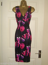 QUIZ FAB SUMMER TULIP PRINT PENCIL WIGGLE EVENING PARTY DRESS SIZE 12 NEW