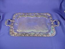 Antique Silver Plate On Copper 2 Handled Serving Tray W/GRAPE Motif