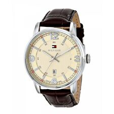 *BRAND NEW* Tommy Hilfiger Men's Analog Cream Dial Brown Leather Watch 1710343