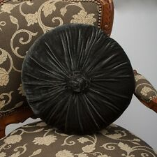Charcoal Grey Cushion Throw Pillow Velvet Round With Rosette French Country
