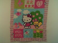 "HANDCRAFTED HELLO KITTY QUILT PANEL,  MACHINE QUILTED 2 1/2"" APART"