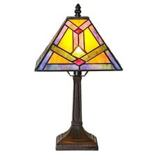 """15.25"""" TIFFANY STYLE SOUTHWESTERN SUNRISE STAINED GLASS ACCENT LAMP #15039"""