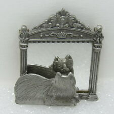 Vintage JJ Jonette Jewelry Pewter Elegant Cat Kitty Looking In Mirror Pin Brooch