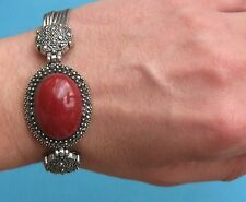 Bracciale con cabochion ovale rosso etnico  - Bijoux
