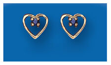 9ct Yellow Gold Real Sapphire Open Heart Earrings - British Made - Hallmarked