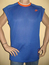 NEW BOYS MENS BLUE CAP SLEEVE NIKE MESH BASKETBALL CREW NECK TOP AGE 14-15-16+
