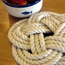Mystic Knotwork: Nautical Sailor Knot Large Rope Trivet, Natural White
