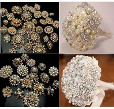 10PX Mixed Bulk Wedding Gold Crystal Pearl Big Brooches Brooch Bouquet Diamond