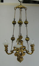Antique German miniature doll house Erhard & Söhne Ormolu 4 arm chandelier