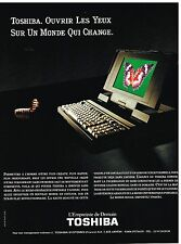 Publicité Advertising 1991 Ordinateur Portable Toshiba