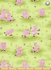 Susybee FLIP, THE PIG in Flowers & Green Grass Quilt Fabric by 1/2 yd #20176-830