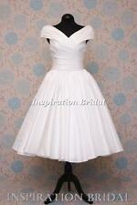 1551 short 50s 60s wedding dresses tea length knee portrait  neck audery herburn