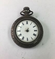 Antique Vintage Ornate Gavour Solid 800 Silver Decorated Case Pocket Watch