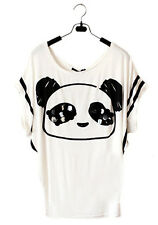 New Womens Asian Fashion Cute Sequence Sequin Panda Head Animal Black White Top