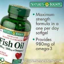 Nature's Bounty Fish Oil 130 Softgels - Enteric coated 1400mg - NEW