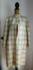 BILL BLASS 4 SAKS 5TH AVE  FAB CHIC IVORY & BLUE PLAID WOOL COAT USA BEAUTY 8