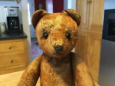 EARLY ANTIQUE GERMAN TEDDY BEAR CINNAMON BROWN HUMP BACK SHOE BUTTON EYES
