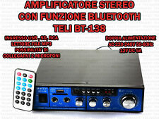 AMPLIFICATORE AUDIO HIFI USB 12V 220V SD MP3 RADIO FM BLUETOOTH INGRESSO 2 MIC