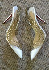 $995 Christian Louboutin Malaika d'orsay perspex gold chain heels 37 uk 4 new