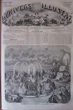 THEATRE PORTE ST MARTIN POULE et COQ GRAVURE XIXéme N° 111 UNIVERS ILLUSTRE 1860