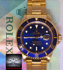 Rolex Submariner 18k Yellow Gold Blue Dial/Bezel Mens Dive Watch +Box 16618