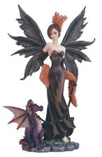 "8"" Inch Fairy W/ Chained Dragon Statue Figurine Figure Fairies Magic Fantasy"