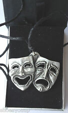 3D THEATRE MASKS DRAMA Hand Made in UK Pewter Pendant Gift Boxed