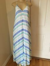 VICTORIA'S SECRET Premium Knife Pleat Maxi Dress XS Reg Blue Stripe
