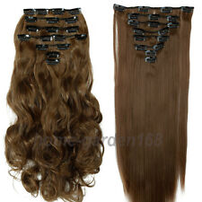 8 Piece Long Curly Wavy Straight Clip in Hair Extensions Extention Full head SU5