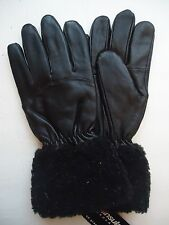 Ladies Fur Cuffed Thinsulate Insulated,Genuine Leather Gloves, L,Black