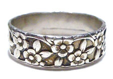 SWEETHEART NOUVEAU DECO ORNATE FLORAL FLOWER STACKABLE STERLING SILVER RING BAND