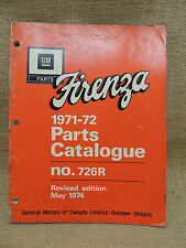 1971 1972 GM Firenza Parts Catalog 726R Revised May 1974