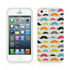 For Apple iPhone 5 5S TPU CANDY Gel Flexi Skin Case Phone Cover Mustaches