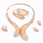 Women Crystal Necklace Earring Bracelet Ring African 18K Gold Plated Jewelry Set