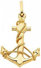 14K Solid Yellow Gold Polished Anchor Pendant