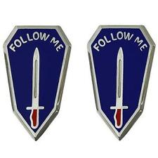 """USA Army Unit Crest Infantry Center and School  """"Follow Me"""" 1-PAIR     NEW"""