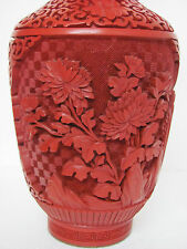 Fine Old Chinese Carved Floral Design Lacquer Cinnabar Vase 9""
