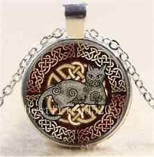Celtic Cat by Kristen Cabochon Glass Tibet Silver Chain Pendant Necklace