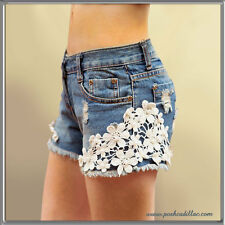 Floral Lace with Pearls & Studs Frayed Blue Denim Hot pants Jeans Shorts