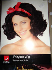 LADIES BLACK FAIRY TALE WIG - SNOW WHITE - STORY BOOK- WIG WITH RED RIBBON BOW