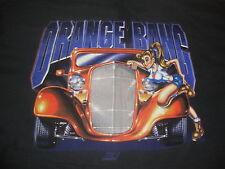 Vintage Orange Bang Hot Rod Sexy pin up girl racing gasser T shirt 2XL