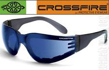 Crossfire Shield Blue Mirror Lens Padded Safety Glasses Sunglasses Z87+