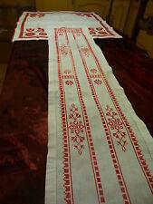 du fait main nappe 7 6x76cm neuve et jeté de table ,du rouge pour votre chalet ?
