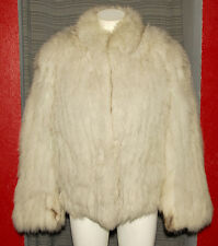 SAGA FOX - White Silver Super Soft & Furry - SUPERB FOX FUR COAT sz S *LUXURIOUS