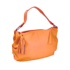 WOMENS DESIGNER SOFT PALE ORANGE LEATHER MEDIUM SHOULDER HANDBAG BY PUNTOTRES