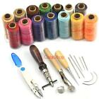 7 pcs sets Hand Stitching Sewing Tool Kit Thread Awl Waxed Thimble Leather Carft